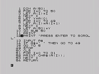 ZX80 Scrolly Text in BASIC