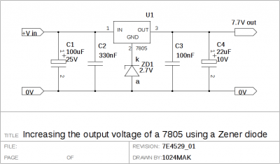 Increasing the output voltage of a 7805 using a Zener diode
